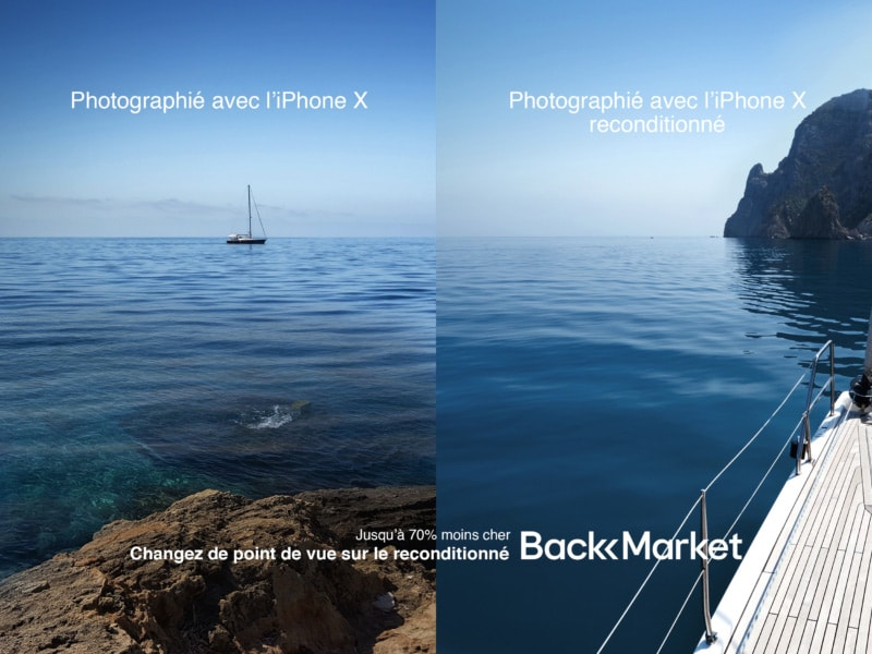Affiche responsable Back Market comparant produits neufs et reconditonnés