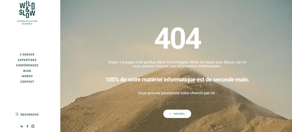 Exemple d'UX writing page 404 Wild&Slow