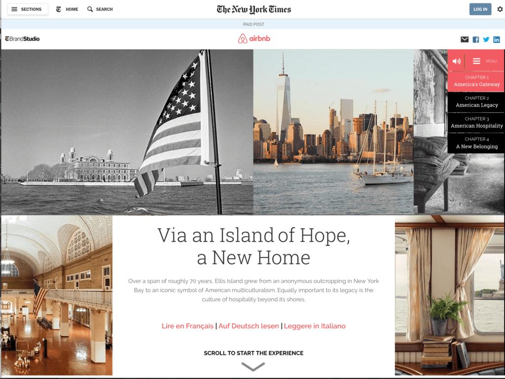 Exemple de publicité native advertising avec Airbnb et The New York Times
